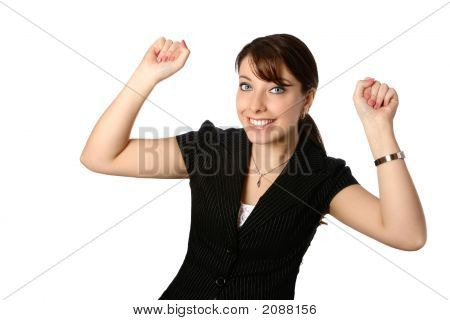 Young Businesswoman With Both Arms Up In Jubilation