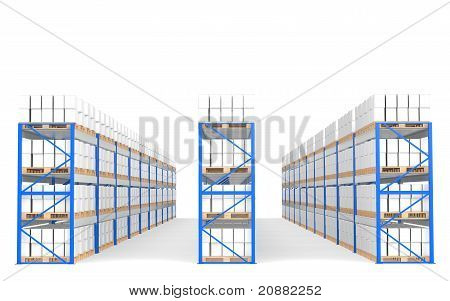 Warehouse Shelves, Front View With Shadows. Part Of A Blue Warehouse And Logistics Series.