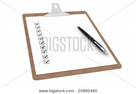 Zwischenablage mit Checkliste und Pen.