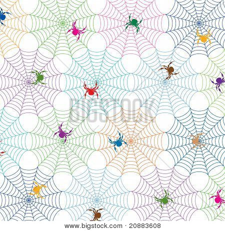 Vector Colorful Background Of Spiders And Webs