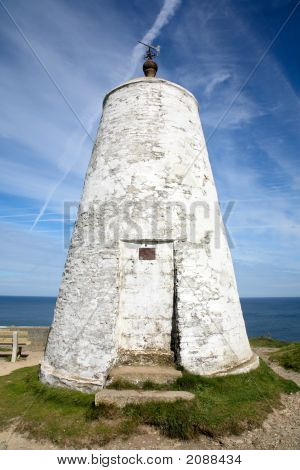 The Pepperpot.  A White Daymark In Portreath, Cornwall.