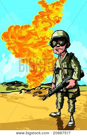 Cartoon american soldier near a oil well on fire
