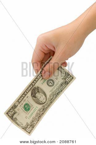 Hand mit zwanzig Dollar