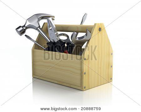 Caixa de ferramentas isolada no fundo branco