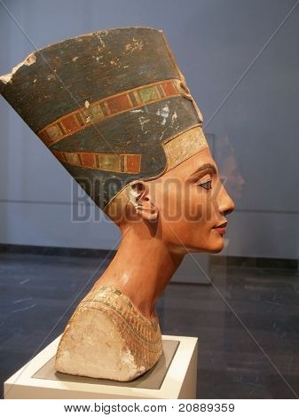 Famous Bust Of Queen Nefertiti In Berlin Pergamon Museum