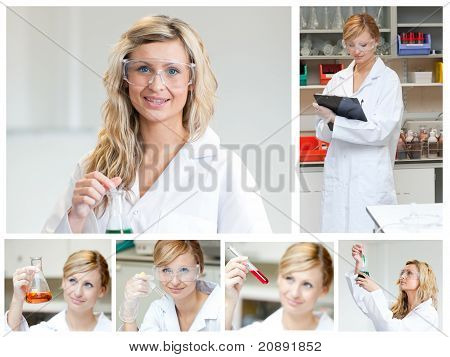 Collage Of A Female Scientist Doing Experiments
