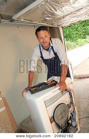 Máquina de lavar de fixação do encanador
