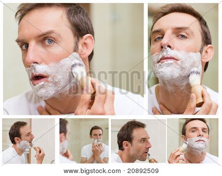 Collage of a handsome man shaving
