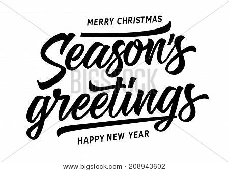 poster of Merry Christmas and Happy New Year Seasons Greetings lettering. New Year Day design element. Handwritten and typed text, calligraphy. For greeting cards, posters, leaflets and brochure.
