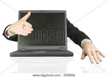 Frienly Laptop Welcoming You - Handshake