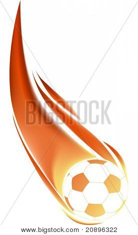 illustration with isolated soccer ball in flame