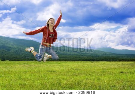 Jumping Laughter Girl