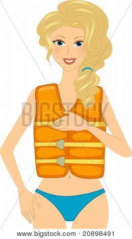 Illustration of a Girl Wearing a Life Vest