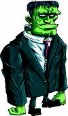 picture of frankenstein  - Cartoon Frankenstein boss in a suit and tie - JPG