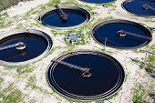 picture of wastewater  - Water recycling and purification on sewage treatment station - JPG
