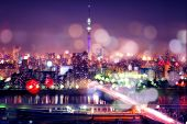 Tokyo Sky Tree With Blur Bokeh Lights poster