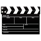 image of movie theater  - Closed movie clapboard used by movie directors isolated over white background - JPG
