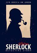 Sherlock Holmes Poster. Detective Illustration. Illustration With Sherlock Holmes. Baker Street 221B poster