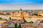 Budapest City Skyline At Hungalian Parliament And Danube River, Budapest, Hungary poster