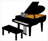 stock photo of grand piano  - drawing of a grand piano with seat - JPG