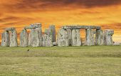foto of stonehenge  - A sunset in the Stonehenge - JPG