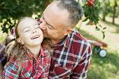 Grandfather With Granddaughter With Apple In The Apple Orchard. poster