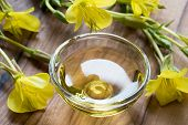 Evening Primrose Oil In A Glass Bowl On A Dark Background poster