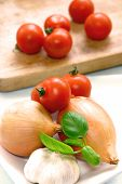 Onion Garlic And Tomatoes Ready For Cooking poster