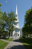 stock photo of cape-cod  - Old white new england church located on Cape Cod - JPG