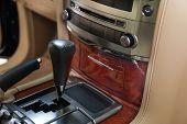 Gear shift knob in modern car poster