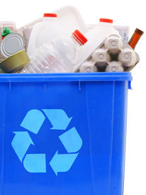 stock photo of recycle bin  - a blue recycling bin full of recyclable things  - JPG