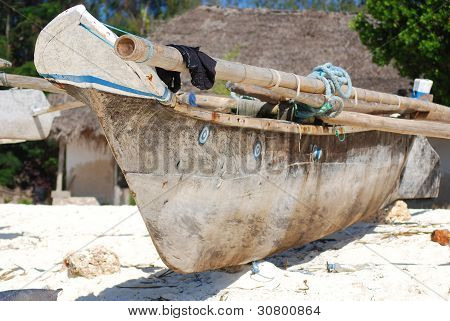 Traditional Zanzibar boat on the beach