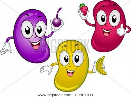 Illustration of Jellybean Mascots Holding Tiny Fruits