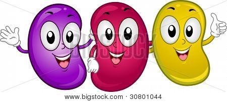 Illustration of Happy Jellybean Mascots