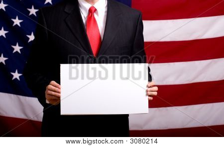 Politician Holding Blank Sign
