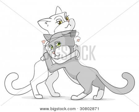 Cartoon hugging couple, cats in love