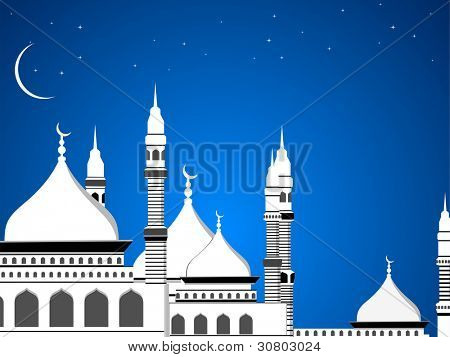 Image of a mosque in blue night background for all muslim celebration. eps 10 Vector illustration.