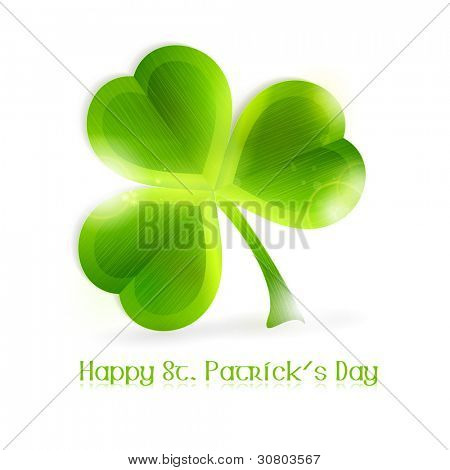 Three leafed shamrock isolated on white, vector illustration. Great for any Irish connected themes as the upcoming St. Patrick's day. EPS10