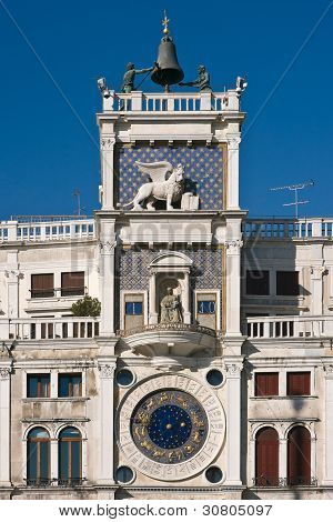 St. Mark's Square Clock Tower In Venice