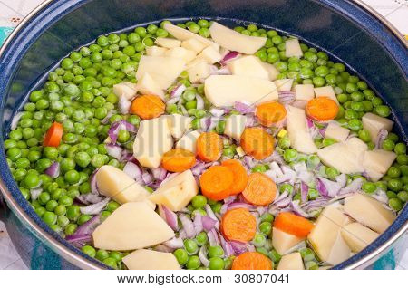 Fresh chopped vegetable in the pan