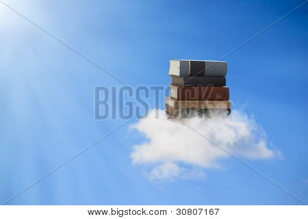 Books Floating On A Cloud