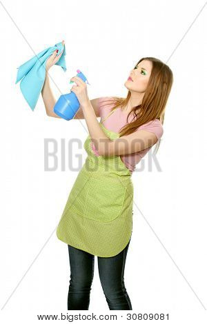 beautiful young housewife with cloth and spray isolated on white