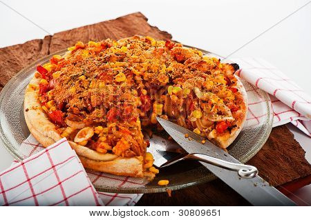 A Fresh Homemade Vegetarian Pizza On White Background As A Studio Shot