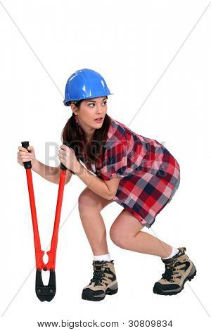 Sneaky woman with a pair of bolt cutters