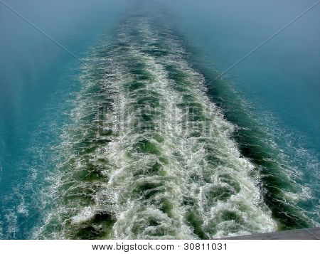 Cruise ship's wake