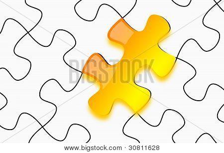 Glänzend gelb 3D Puzzle auf Papier