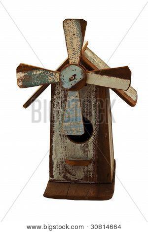 Handmade Wooden Birdhouse Isolated On White Background