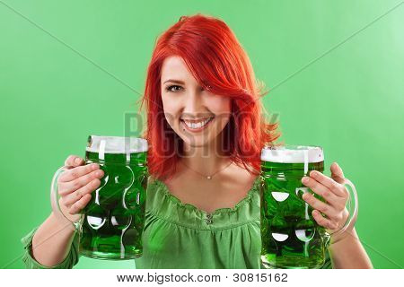 Redhead Holding Green Beers