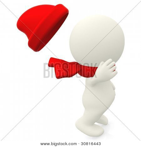 3D man on a windy day and his hat flying - isolated over a white background