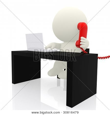 3d businessman on the phone  - isolated over a white background
